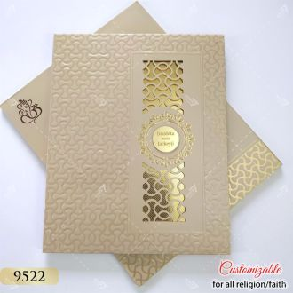 rose gold finish hardcover wedding card