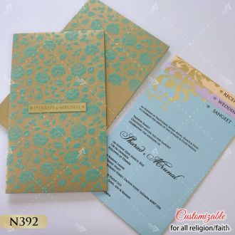 Turquoise green rose embossed wedding card with pastel inserts