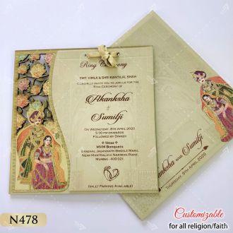 lasercut indian bride and groom theme wedding card