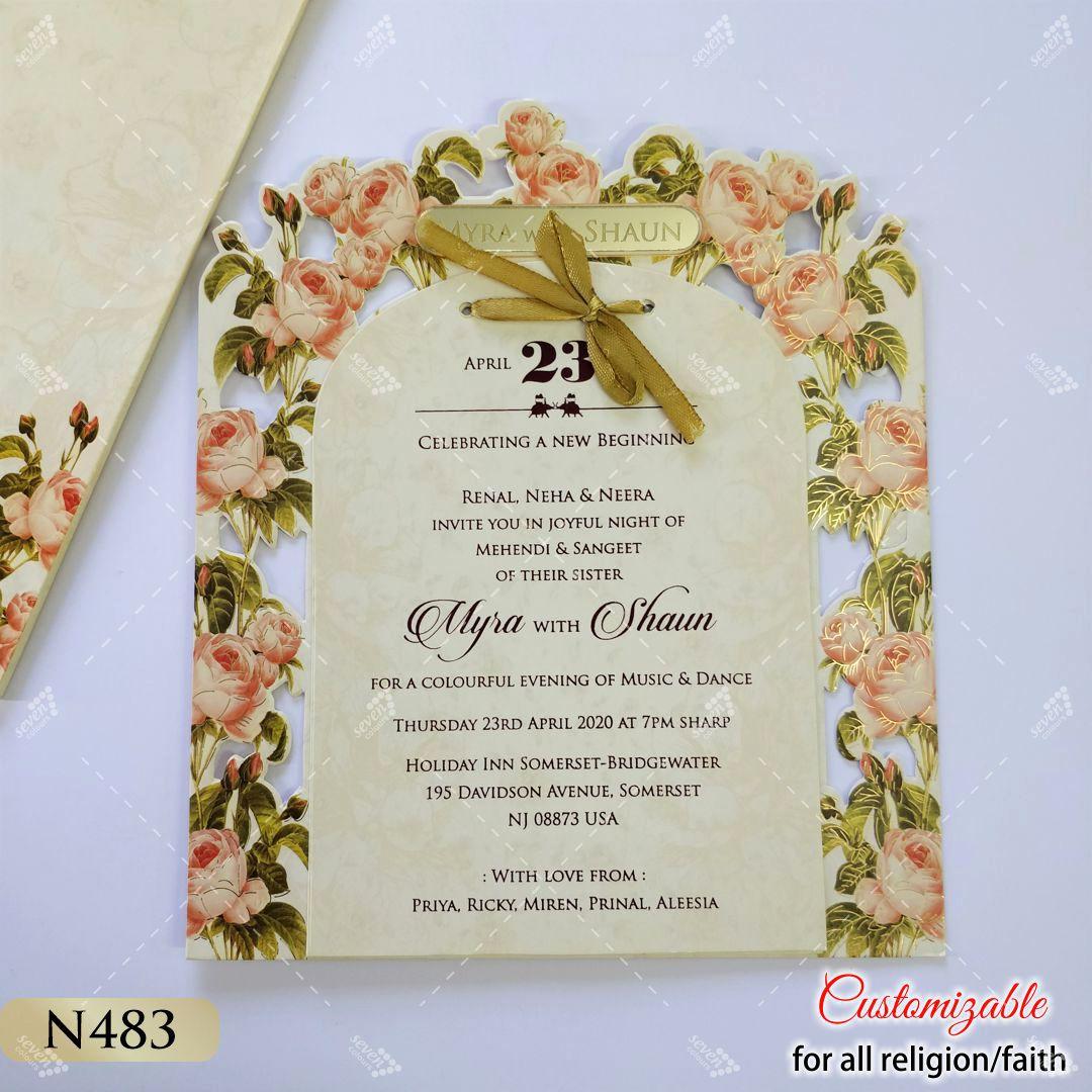 rose theme digital floral print lasercut wedding invitation