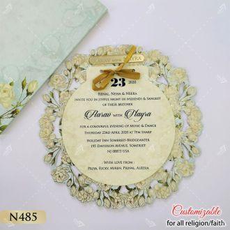 round circular shape floral printed theme lasercut card
