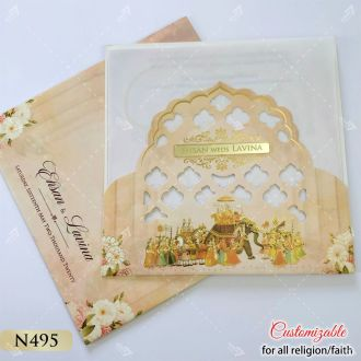 Baraat procession theme indian wedding card in floral designs