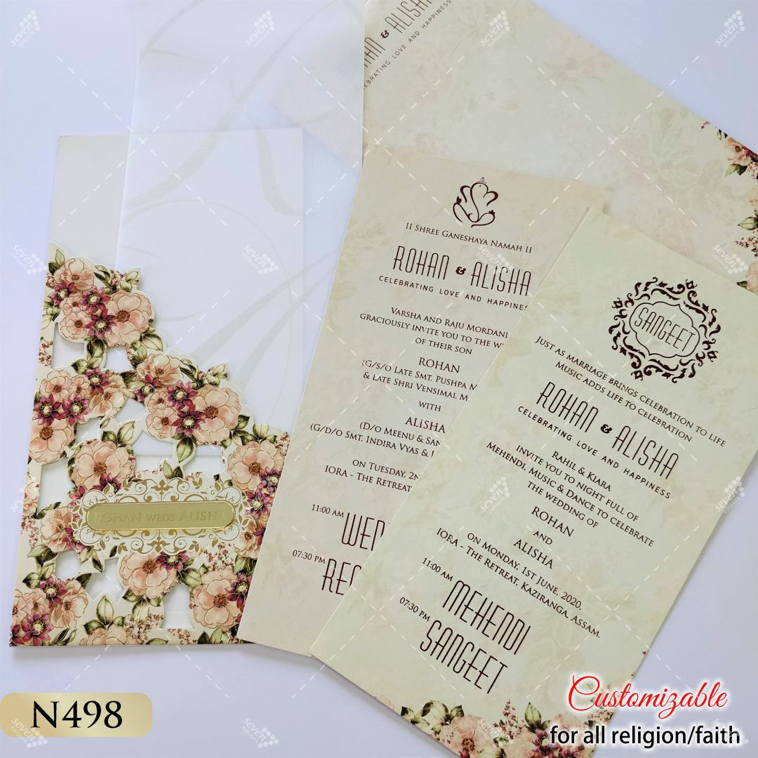 fall floral wedding card tall shape