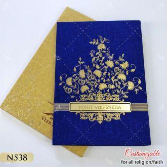 royal navy blue hardcover golden envelope wedding card for sikh wedding