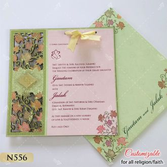 lotus theme lasercut pink and sea green colour invitation