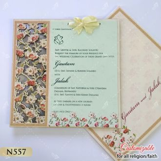 floral intricate lasercut work on mdf board hardcover card