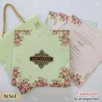 carry Bag style wedding card in floral theme with pastel colour inserts