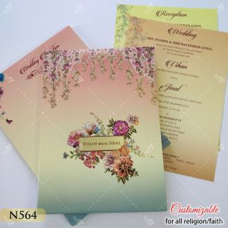 floral theme shaded effect hardcover card