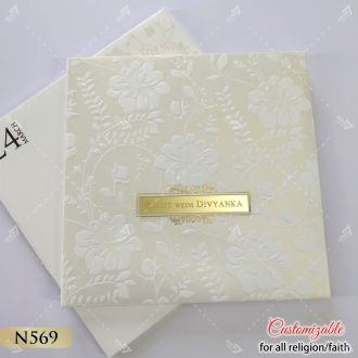 elegant designer white thick hardcover card with golden touch