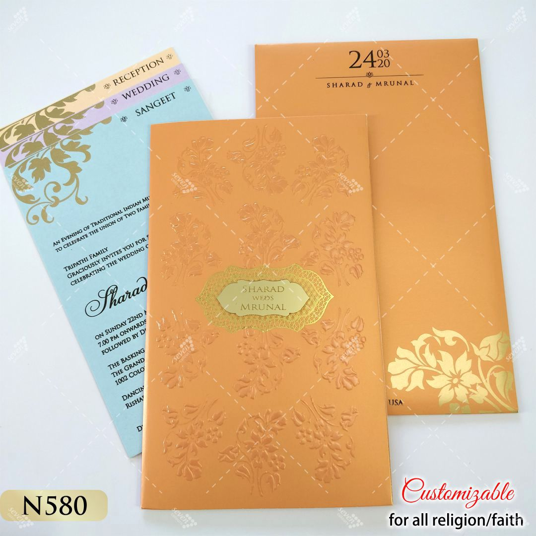 orange colour wedding invitation for tamil wedding