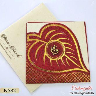 leaf shape red colour tamil wedding card for hindu