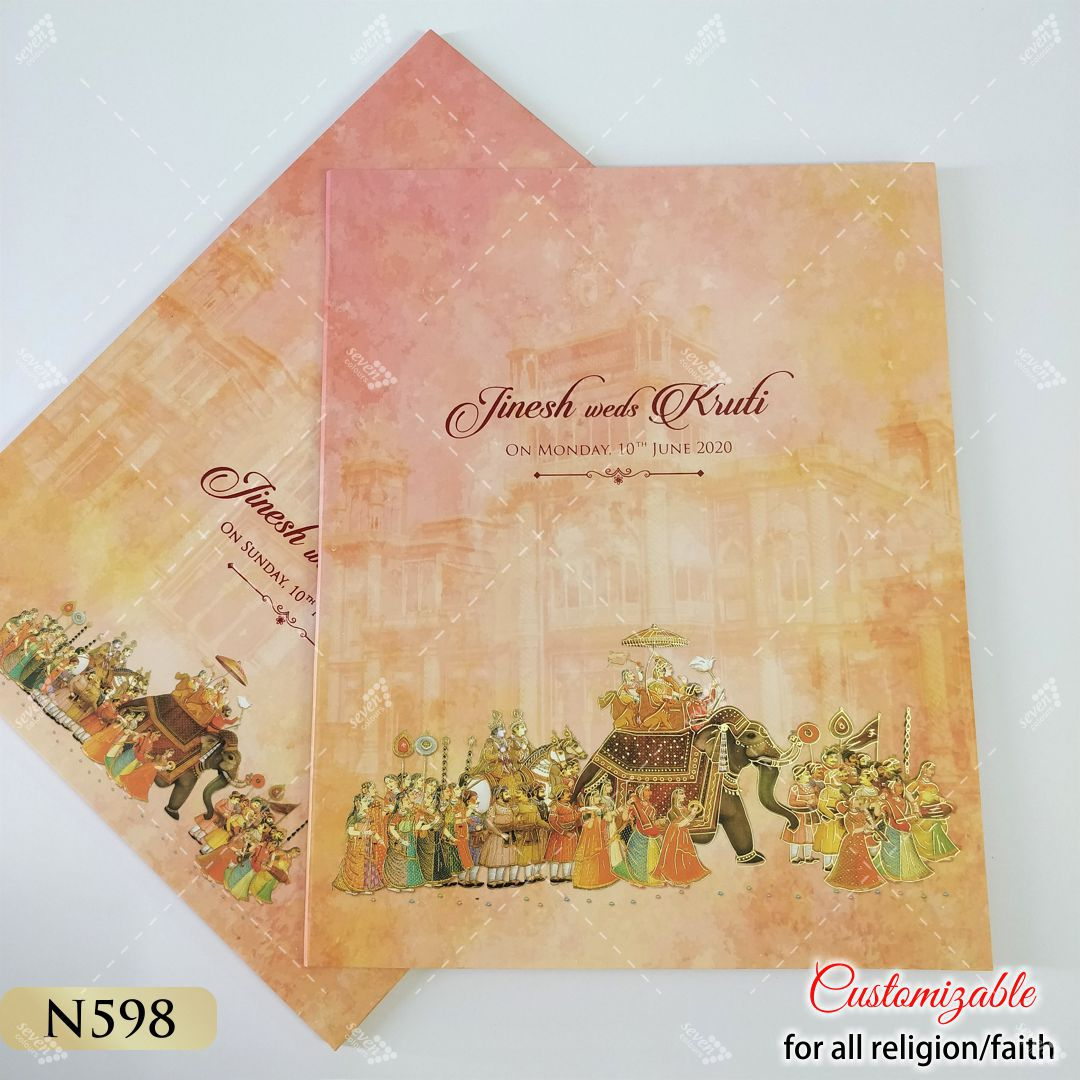 peach colour indian wedding procession theme card - baraat style on elephant