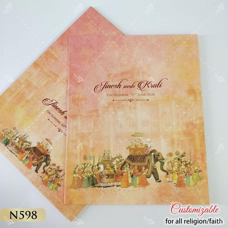 peach colour indian wedding procession theme card - baraat style on elephant