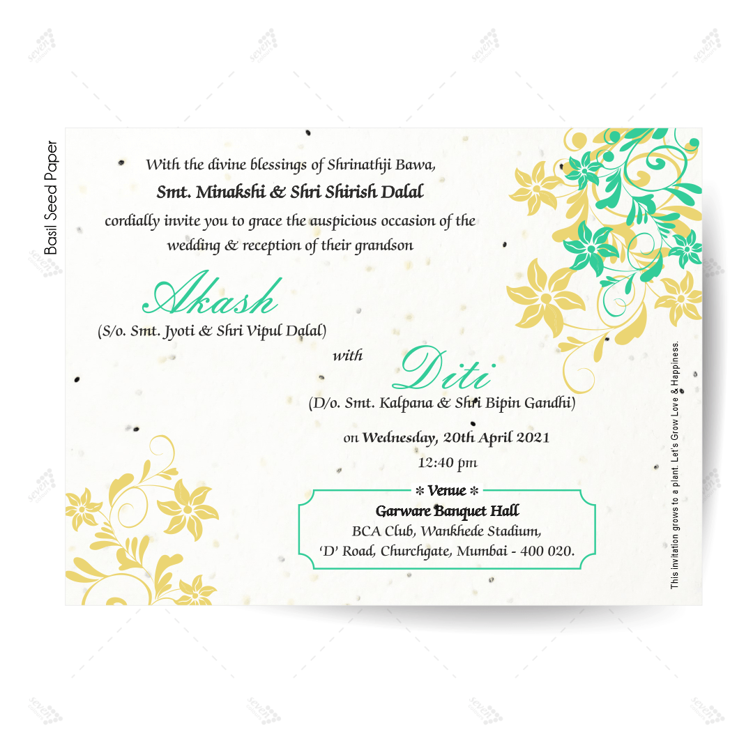 Basil Seed Paper Wedding Card Invitations in simple elegant design