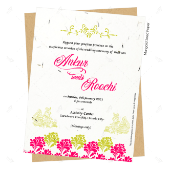 seed paper cards in pink and gold theme