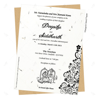 seedpaper ecofriendly invitation in black text