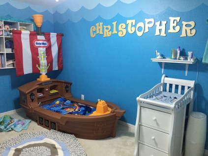 The coolest big boy bed ever (although it's missing the cannon right now due to a broken piece that has been ordered for replacement)