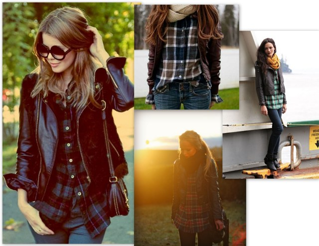 Plaid and Leather Fashion