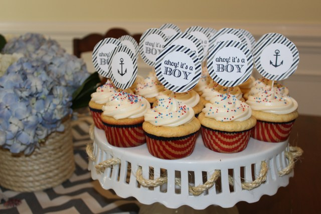 baby boy shower cupcakes; nautical and anchor theme
