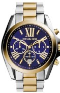 michael hors watch with navy face, gold and silver