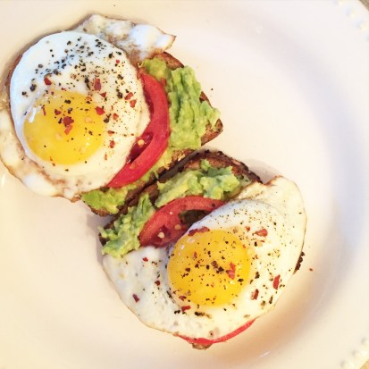 avocado toast with tomato and fried egg