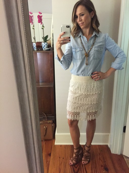 early fall baby shower outfit; lace skirt