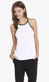 white cami blouse with black trim