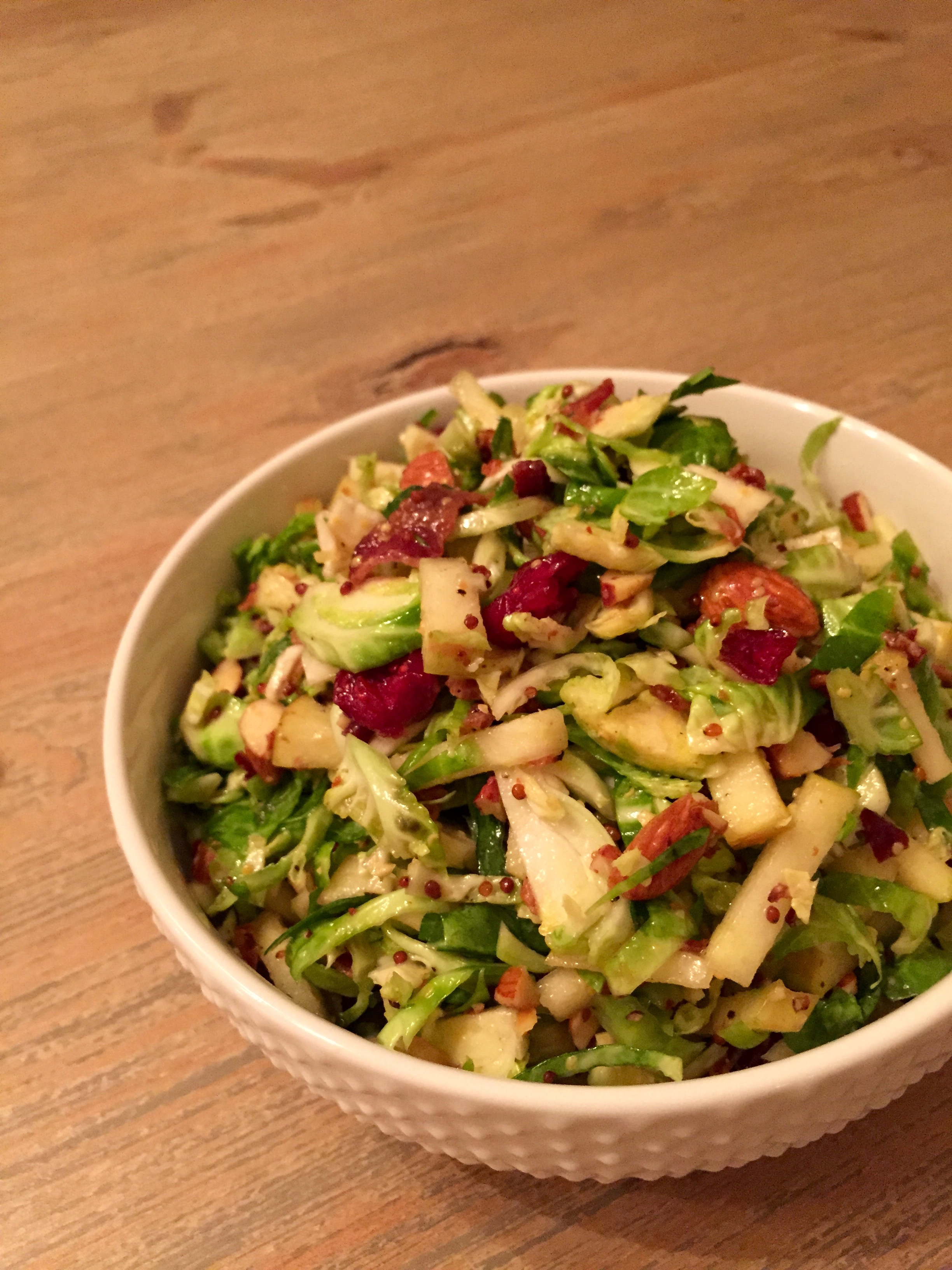 brussels sprout salad with apples and bacon
