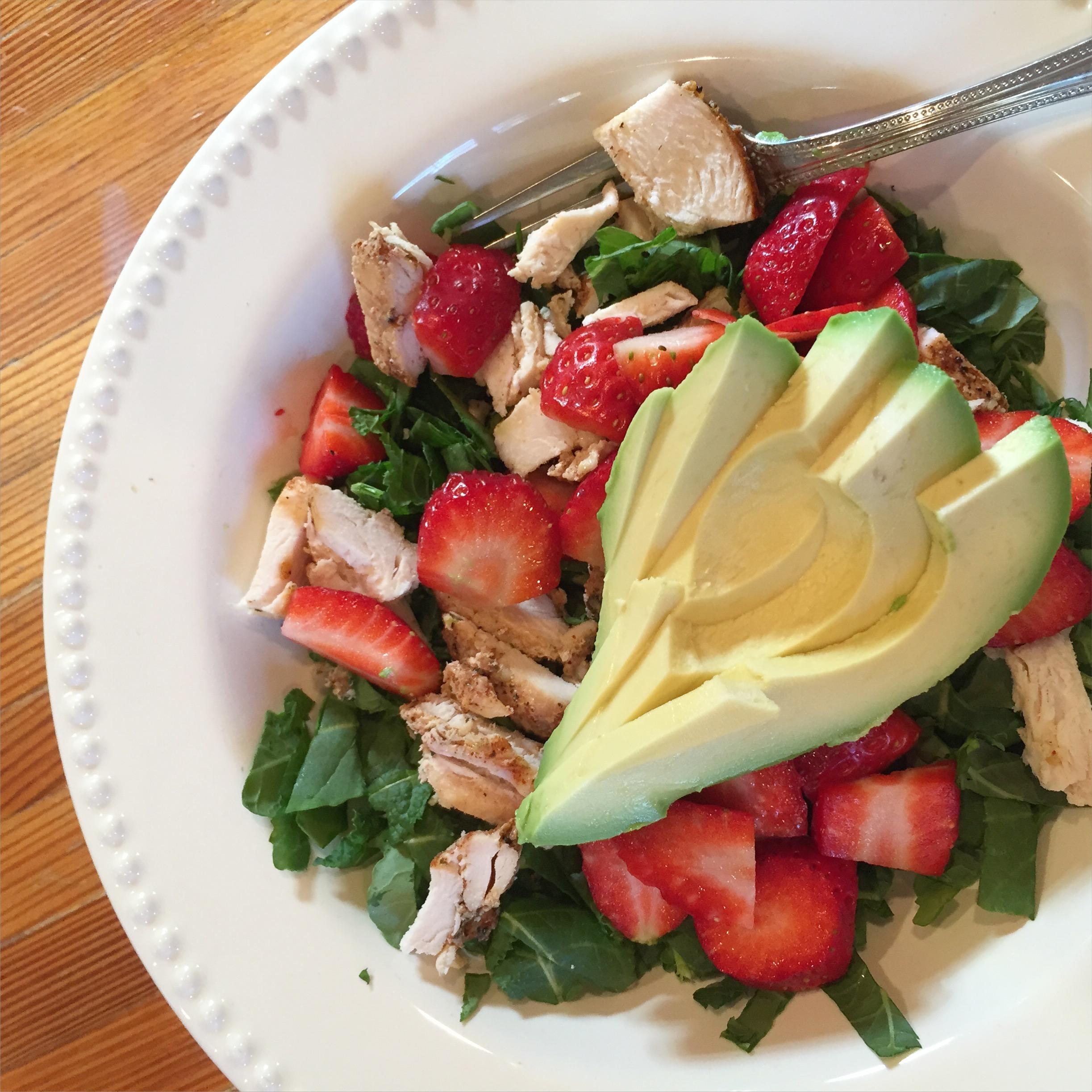 strawberry avocado chicken kale salad