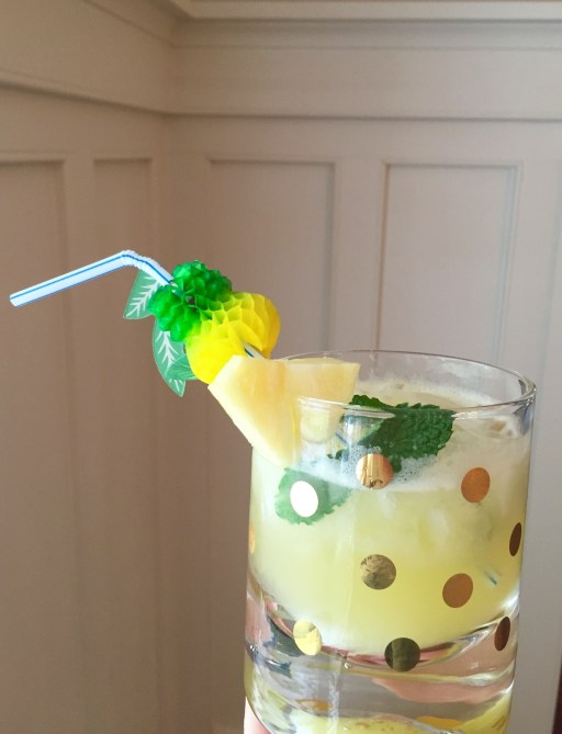 sparkling pineapple lemonade with fun fruit straws