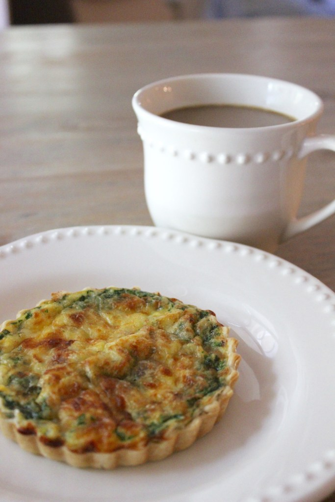 quiche with bacon, spinach, mozzarella