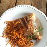 Rosemary Lemon Roasted Chicken with Spiralized Shoestring Sweet Potato Fries