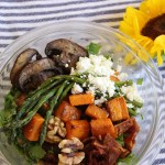 Butternut Squash Kale Salad with Bacon, Asparagus, Mushrooms, and Rosemary Shallot Dressing