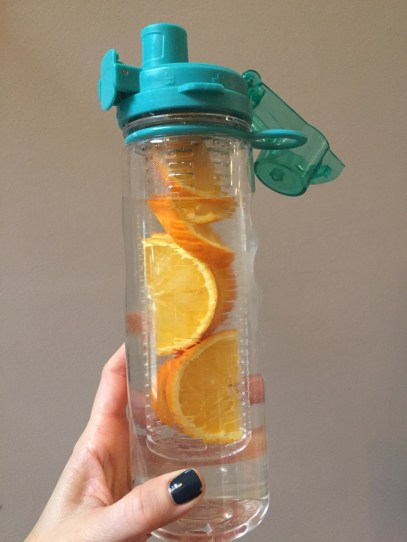 infused water bottle; New years eating plan