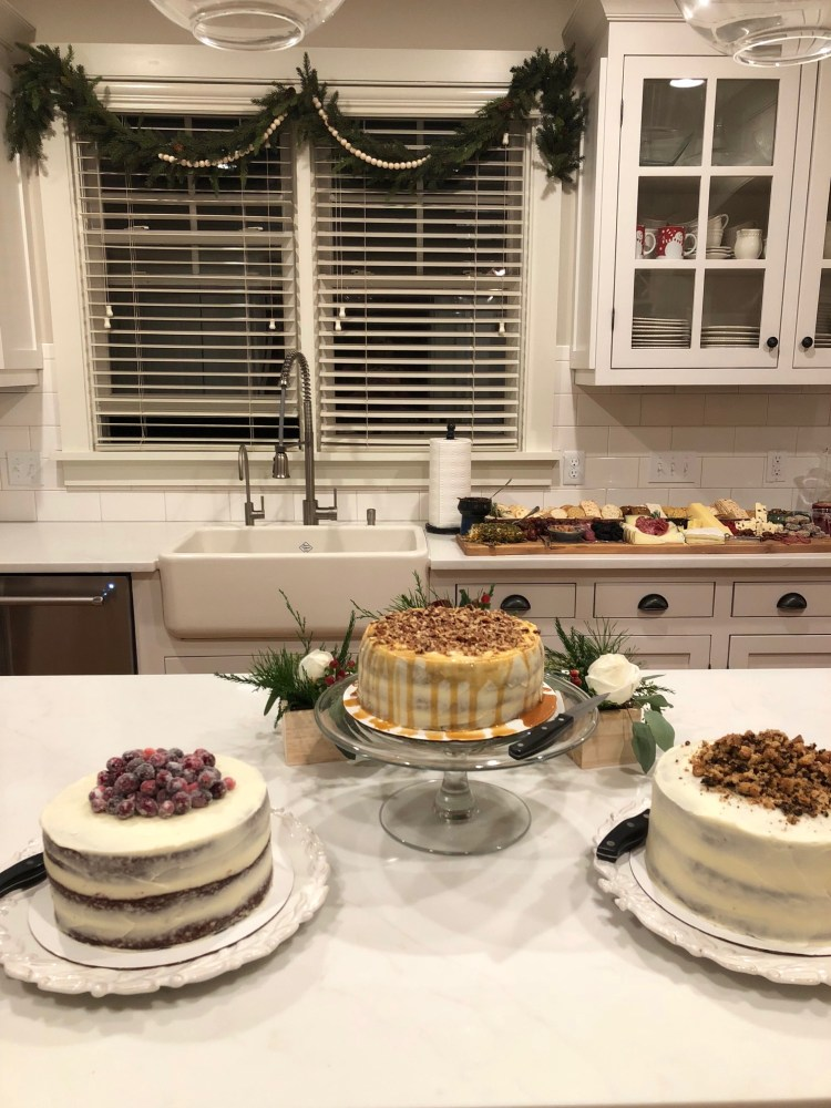 cake bar for a Christmas dinner party