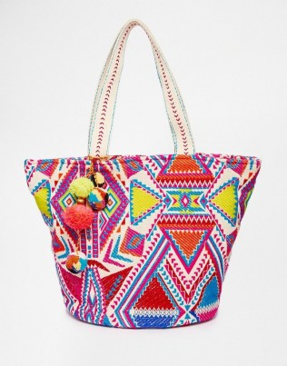 Asos summer beach bag with pom pom