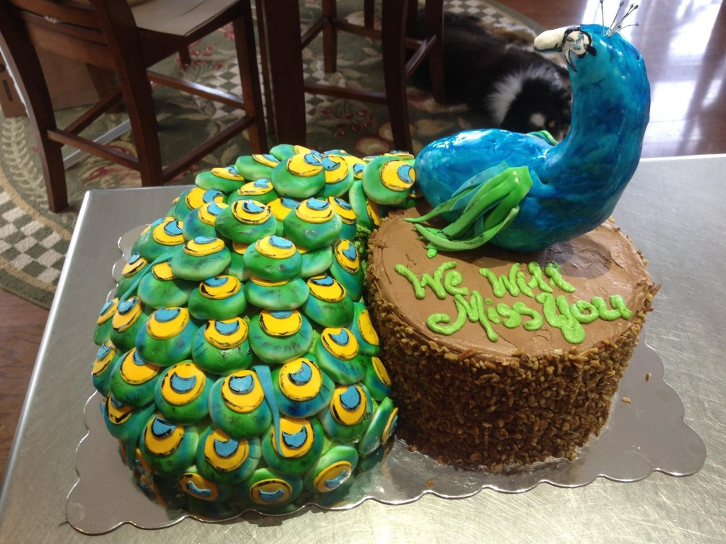 Peacock Cake with Fondant covered Nilla Wafer Tailfeathers