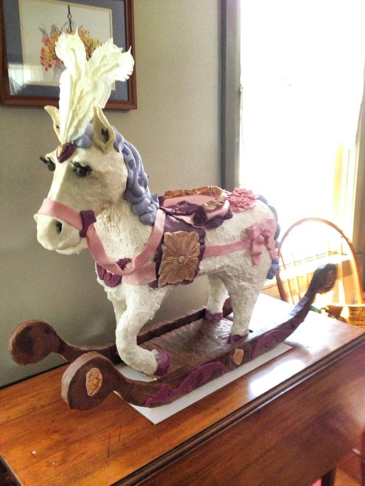 Rocking Horse Cake with Chocolate headdress feathers
