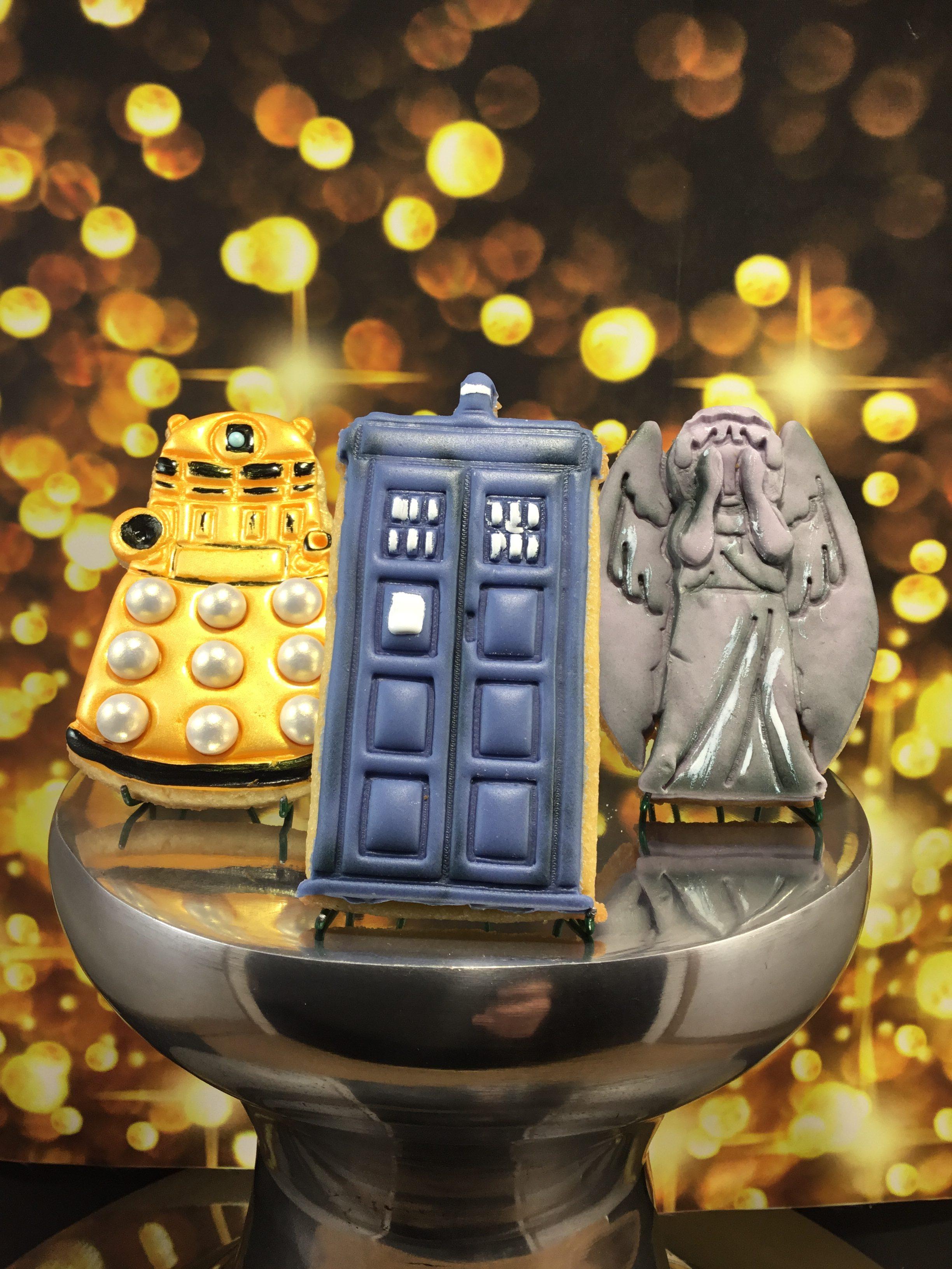 Dalek, Tardis and Weeping Angel Cookies