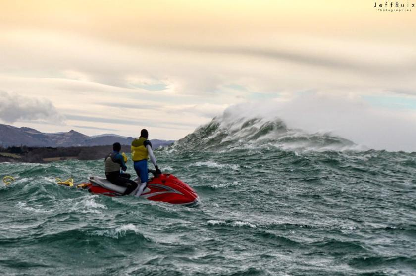Cedric Giscos and Lionel Franssen from Shores of Fear about to ride a wave in the ocean