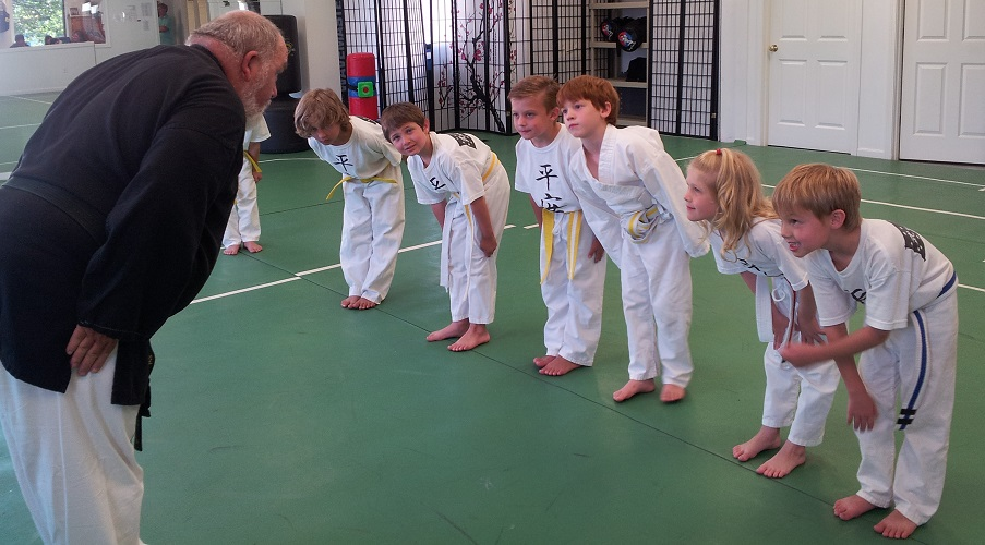 Our beginners learn to bow to the instructor in order to show respect. Respect is important!