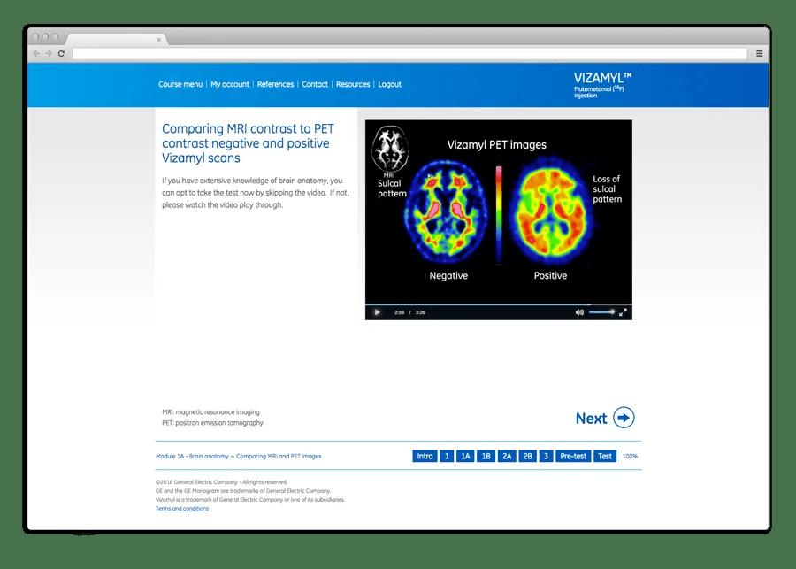 Vizamyl GE - Online learning platform