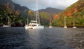 AMARA anchored in Fatu-Hiva