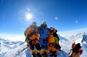 At the top of Everest (Martin in blue)