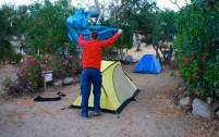 Setting up camp, Camping Termas de Socos, Chile.