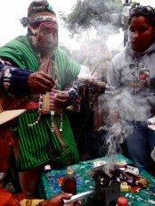 Andean priest blessing