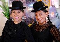 Models pose before the 'pasarela, cholita fashion show, El Alto, La Paz.