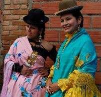 The fashion show in El Alto showcases some of the more elaborate and expensive cholita fashions and jewellery.