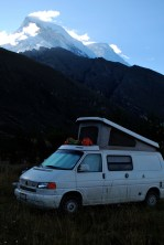 Camping at Llanganuco mountain lodge, Cordillera Blanca, Peru