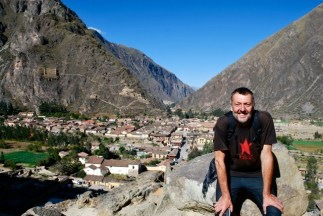 Jeremy at the Inca ruins, Ollantaytambo, Peru